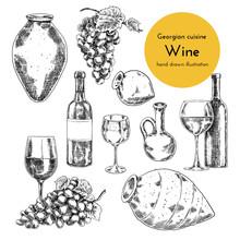 Set Of Wine Illustrations For Menu Design. Sketch Bottle, Qvevri And A Glass Of Wine. Hand Drawn Illustration Of Wine