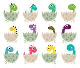 Fototapeta Dinusie - Cute cartoon dinosaurs collection