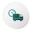 Green Logistics delivery truck and clock icon isolated on white background. Delivery time icon. White circle button. Vector Illustration