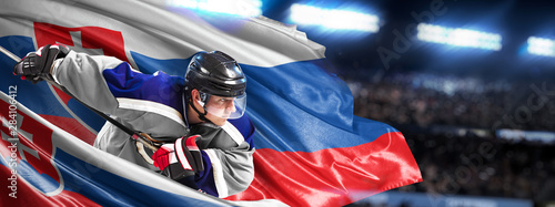 Slovakia Hockey Player in action around national flags Wallpaper Mural