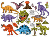Fototapeta Dinusie - Set collection bundle of engraving dinosaurs