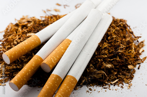 Cigarettes on quantity of shredded tobacco isolated on white background Fototapeta