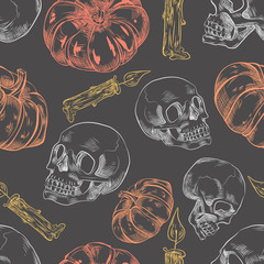 Seamless pattern with hand drawn halloween pumpkin, candles and skulls