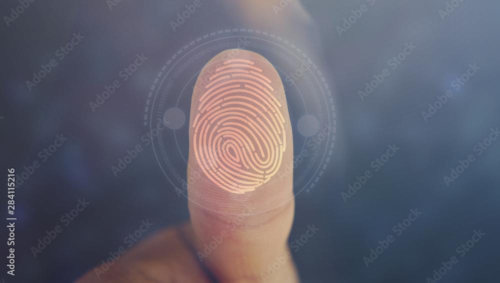 Fototapeta Businessman login with fingerprint scanning technology. fingerprint to identify personal, security system concept