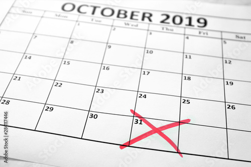 Cuadros en Lienzo  Brexit deadline concept with October sheet of monthly calendar and the date on w