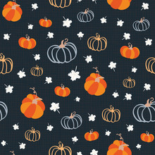 Seamless Pattern For Thanksgiving Celebration. Vector Of Hand Drawn Illustration With Ripe Pumpkin And White Maple Leaves On Textured Background.