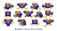 Set Cartoon Funny Birds. Collection Of Blue Chicks With Emotions On A White Background. Isolated, In A Flat Style. Vector Illustration