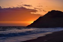 Beautiful Colorful Sunset Viewed From The Beach -  Pacific Coast Near San Francisco, United States Of America