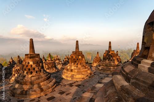 Foto op Aluminium Indonesië Morning light over Candi Borobudur temple in Yogjakarta, Indonesia.