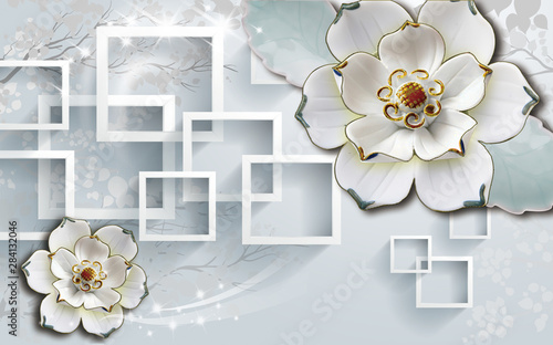 3d Flowers background with circle wallpaper for walls . with golden flowers and gray background