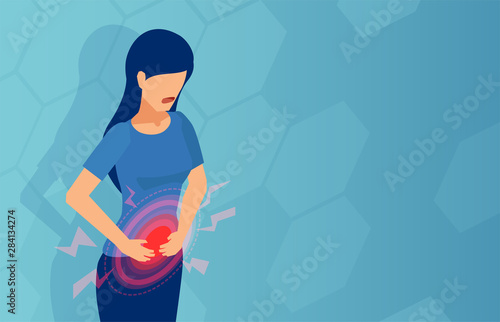 Vector of a woman with stomach pain Wallpaper Mural