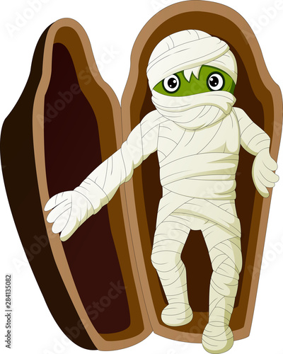 Photo Cartoon Egyptian mummy in sarcophagus