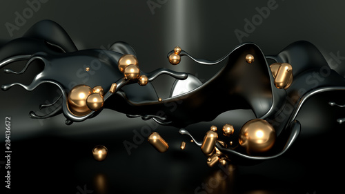 Beautiful, elegant background with a pedestal and a showcase. 3d illustration, 3d ..rendering.