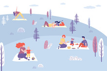 People Relaxing In The Park, Picnic In Nature.Various Characters And Family