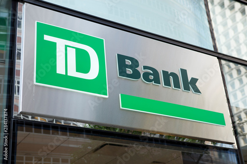 New York, New York, USA - August 18, 2011: A TD Bank sign on