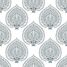 Traditional Seamless Indian Grey Damask Pattern