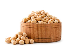 Chickpeas In Wooden Plate On A...