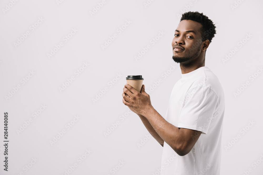 Fototapety, obrazy: happy african american man holding paper cup isolated on white