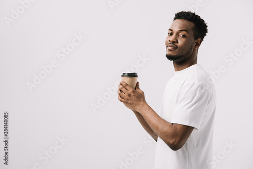 Pinturas sobre lienzo  happy african american man holding paper cup isolated on white