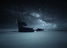 Shipwreck On A Beach Against The Milky Way, Dublin, Ireland