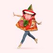 Leinwanddruck Bild Fast food. Human body as a pizza's slice with big mouth running on coral background. Negative space to insert your text. Modern design. Contemporary art collage. Concept of nutrition, emotions, taste.