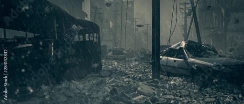 Apocalypse survivor concept, Ruins of a city Fototapeta
