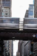 Elevated Train Driving Along Train Tracks, Chicago, Illinois, United States