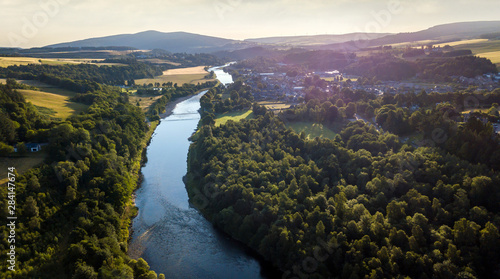Foto auf Leinwand Blaue Nacht Aerial view of Aberlour and the river Spey, in Moray, Scotland.