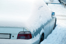 Parked Car After Winter Blizzard