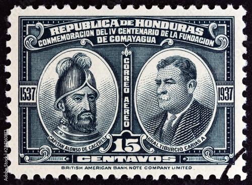 Alonso de Caceres and Tiburcio Carias Andino (Honduras 1937) Canvas-taulu