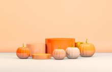 Abstract 3d Halloween Backdrop With Orange Cylinder Box And Pumpkins For Products Display. Halloween Background.
