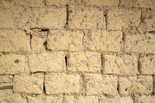 Old Yellow Mud Brick Wall Back...
