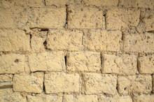 Old Yellow Mud Brick Wall Background
