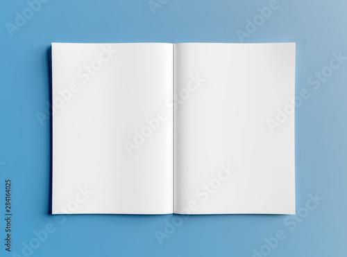 Carta da parati  Isolated white open magazine mockup on blue 3D rendering