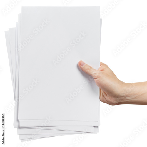 Fotografie, Obraz  Hands holding a stack of white paper, isolated on white background