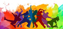 Detailed Illustration Silhouettes Of Expressive Dance Colorful Group Of People Dancing. Jazz Funk, Hip-hop, House Dance. Dancer Man Jumping On White Background. Happy Celebration