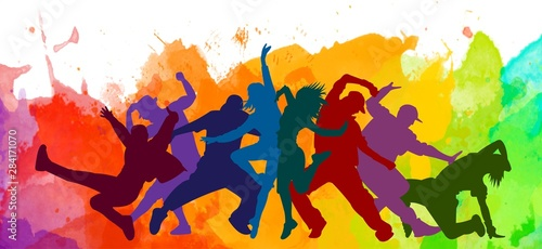 Photo Detailed illustration silhouettes of expressive dance colorful group of people dancing