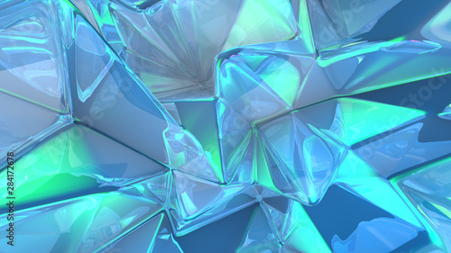 Fototapety, obrazy: Crystal triangle background. 3d illustration, 3d rendering.