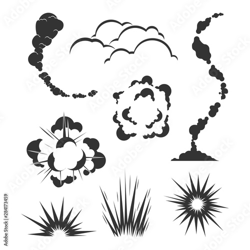 Valokuva  Set of Swoosh Comic smoke Logo Vector