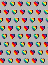 Rainbow-colored Candy Hearts Patterned On Grey