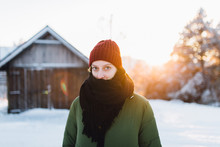 Portrait Of Beautiful Blonde Woman On The Snow