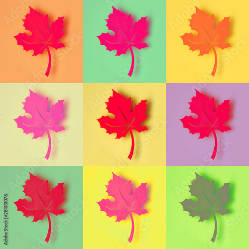 Obraz na plátně Paper maple leaf, photo collage in colorful pop art style