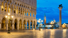 St Marks Square With Doges Palace And San Giorgio Maggiore In Background, Venice, Italy