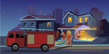House On Fire Flat Vector Illustration