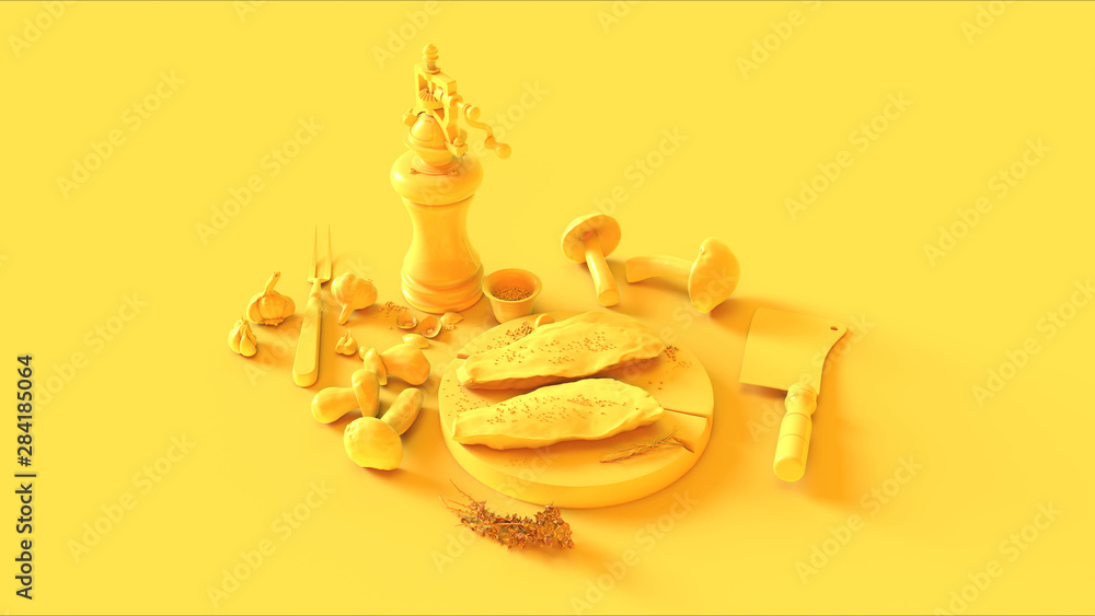 Fototapety, obrazy: Yellow Meat Gourmet Mushrooms Traditional Pepper Peppercorn Mill Grinder Knife Meat Cleaver 3d illustration 3d render