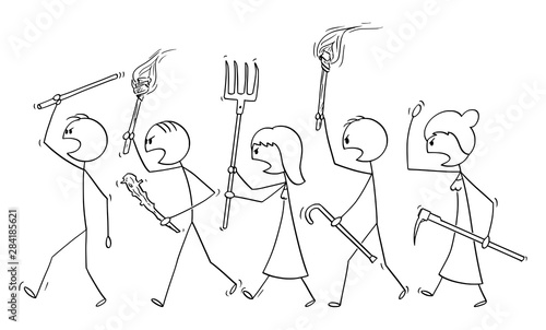 Leinwand Poster Vector cartoon stick figure drawing conceptual illustration of angry mob characters walking with torch and tools like pitchfork as weapons