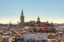 Cityscape With Cathedral Of Seville With La Giralda, Seville, Spain