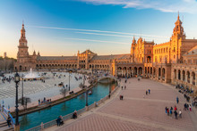 Long Exposure Of The Plaza De Espana, Seville, Spain