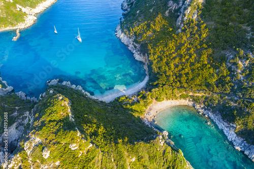 Obraz na plátne  Porto Timoni is an amazing beautiful double beach in Corfu, Greece