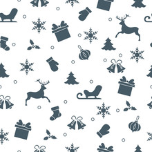 Happy New Year 2019 And Christmas Seamless Pattern